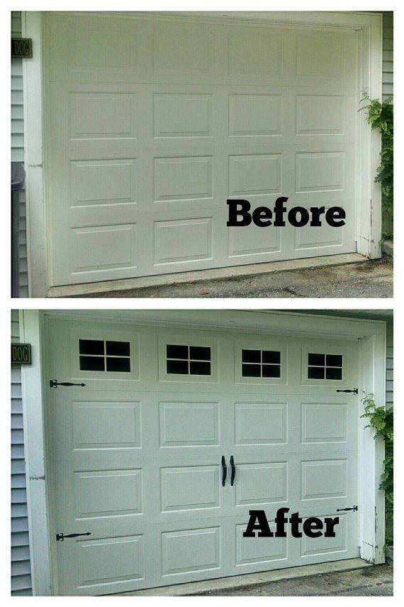 Increase Your Curb Appeal In Under An Hour Faux Fake Garage Windows Custom Carriage House Window Decals Garage Door Design Garage Door Styles Garage Doors