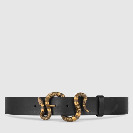 Ceinture en cuir avec boucle serpent - Gucci Casual Femme 458935CVE0T1000 7351d990d85