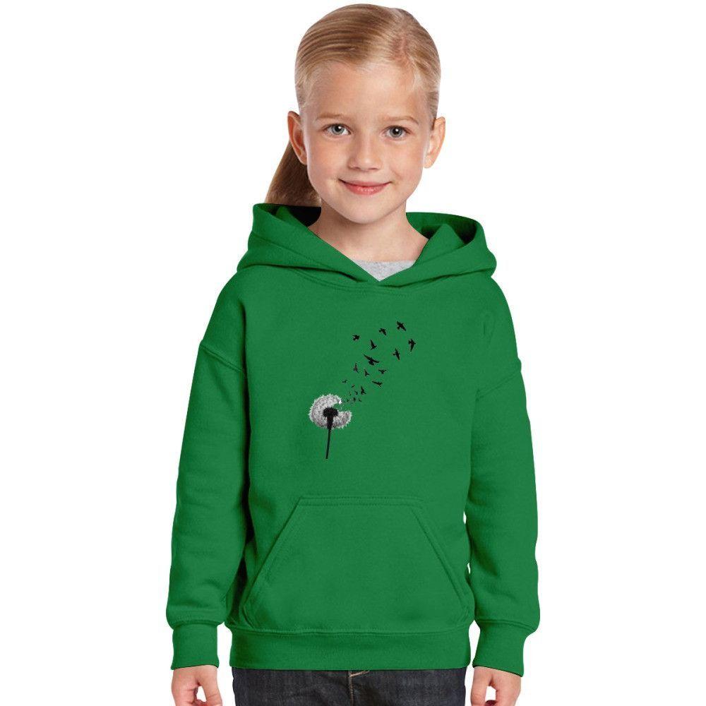 Dandelion With Flying Bird Kids Hoodie