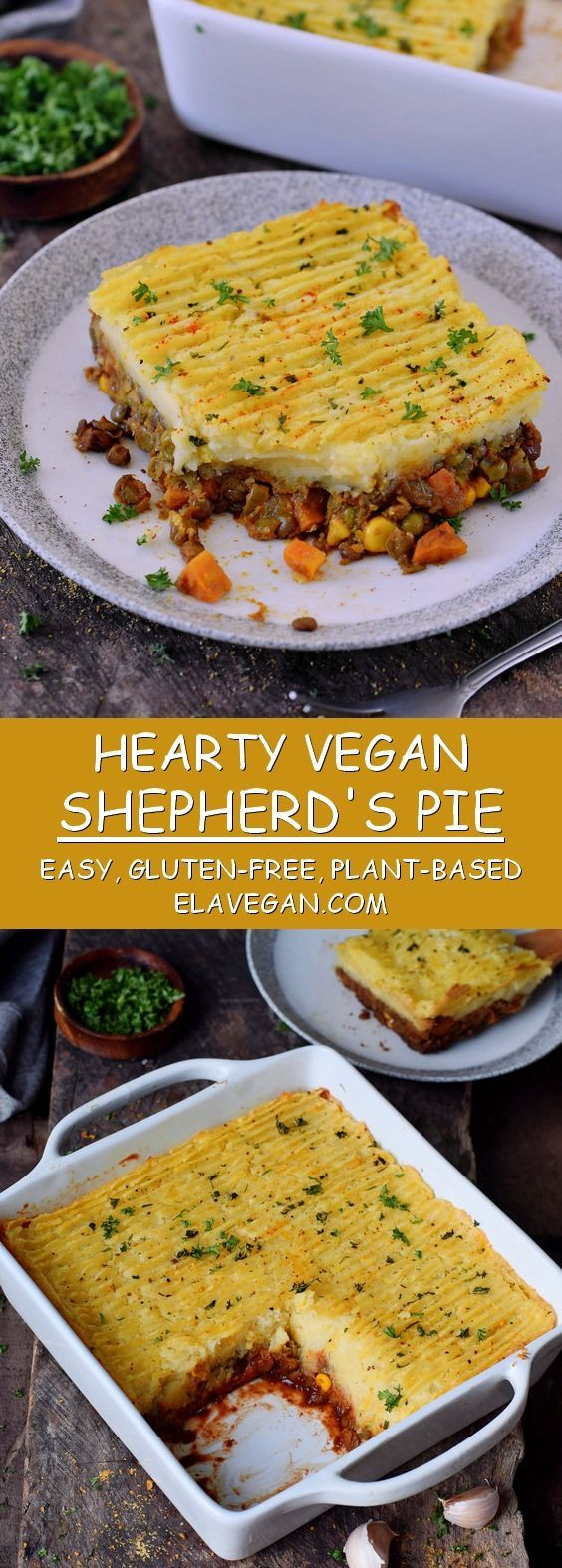 Hearty vegan Shepherd's Pie (without lamb) made with lentils and veggies. This comfort dish is easy to make, gluten-free, protein-rich and very delicious. This recipe is also known as cottage pie which, however, is made with beef. My vegan version is perfect for dinner and ready in less than 60 minutes! #vegan #glutenfree #shepherdspie #cottagepie #mashedpotatoes | elavegan.com #dishesfordinner