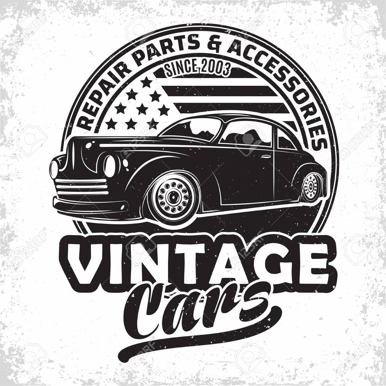Hot Rod Garage Logo Design Emblem Of Muscle Car Repair And Service Organisation Retro Car Garage Print Stamps Hot Rod Typography Emblem Vector Illust Plotten