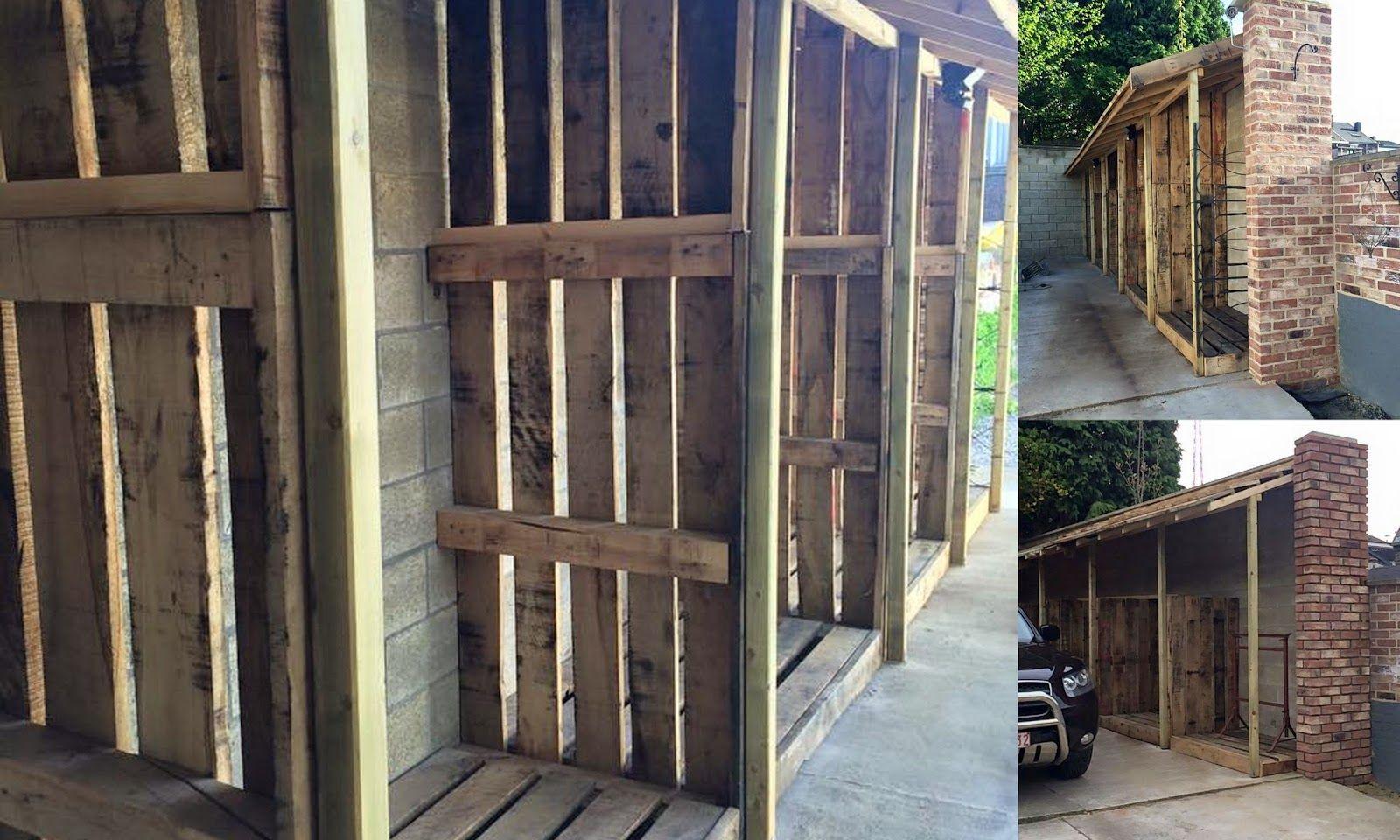 Construction D Un Abri A Bois De Chauffage Palettes Recyclees Abri Bois Bois De Chauffage Abri Bois De Chauffage