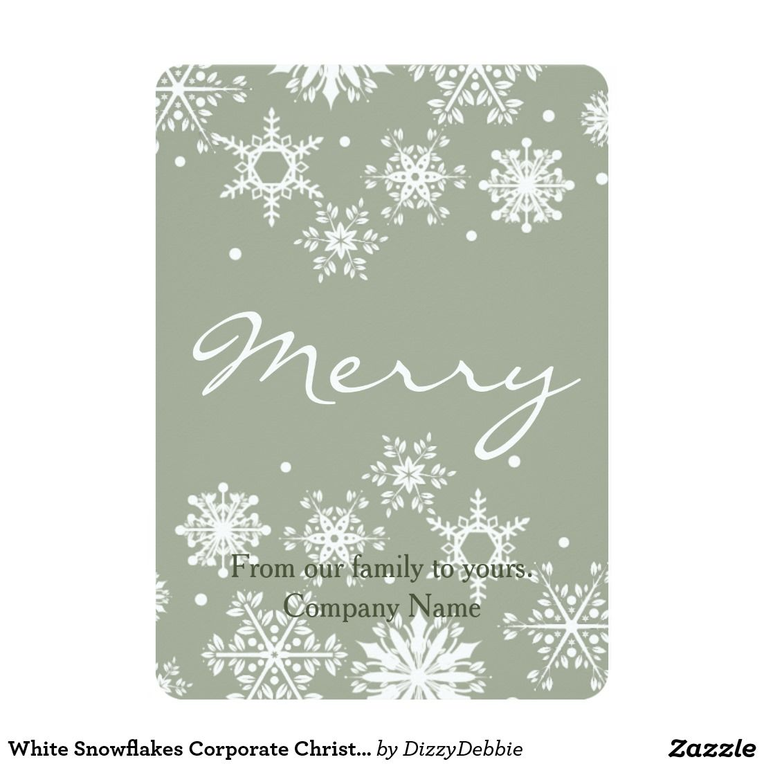 White Snowflakes Corporate Christmas Card Corporate Greeting Cards