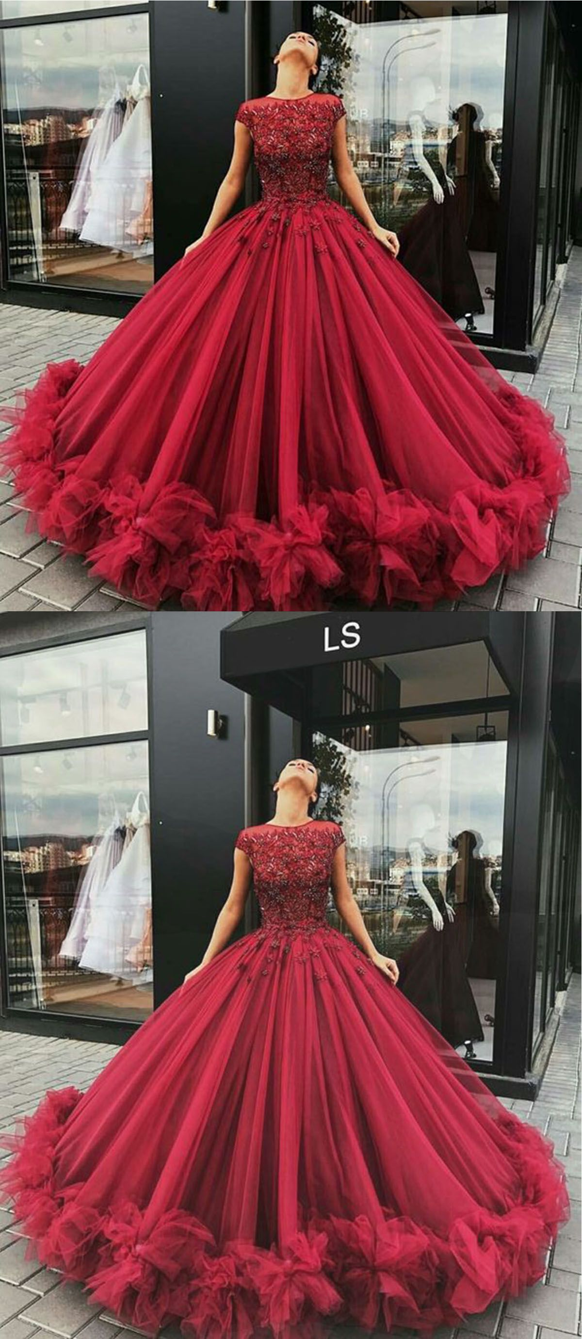 Red Tulle Prom Dress, Long Poofy Evening Gown for Prom 2018 ...