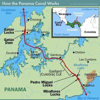 Map Of Panama Canal Where We Went Through Three Types Of Locks And - Political map of panama caribbean sea