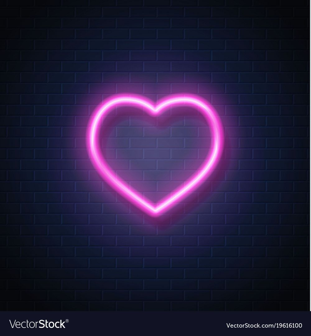 Neon heart icon sign vector image on VectorStock in 2020