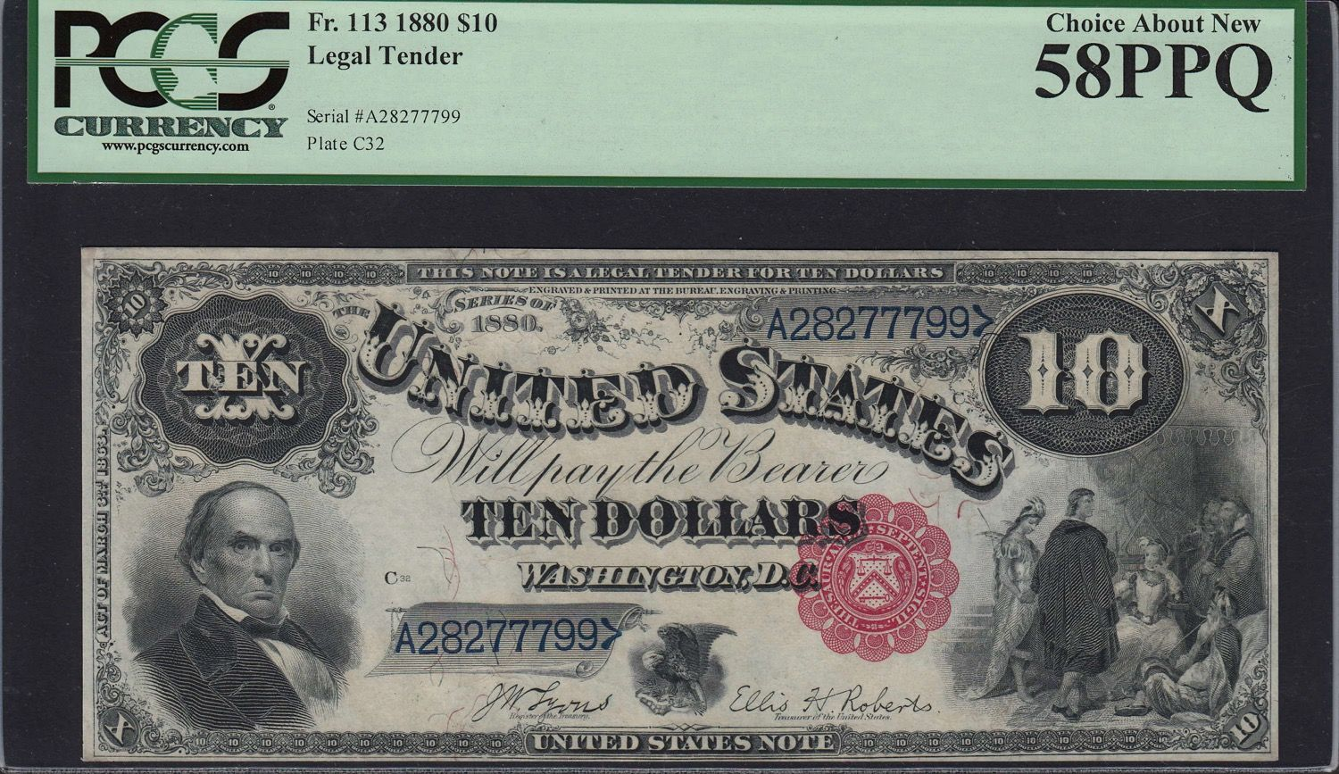 Fr 113 1880 10 Legal Tender Note Lyons Roberts Pcgs Currency Choice About New 58 Ppq Fr 113 1880 10 Legal Tender Legal Tender Coin Auctions Currency