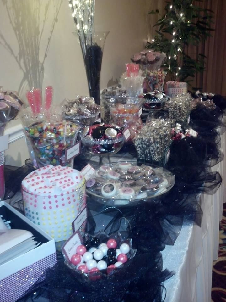 black, pink, and silver candy buffet!