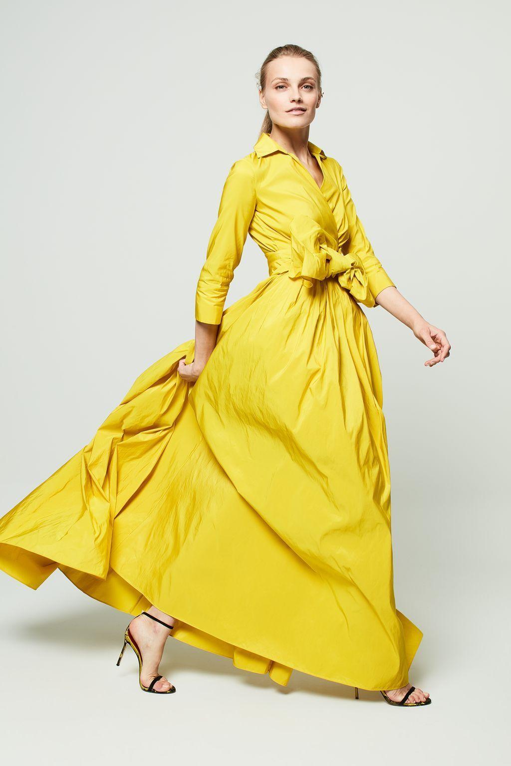 Vestido cache-cœur de tafeta AMARILLO   Products   Pinterest   Dress ...