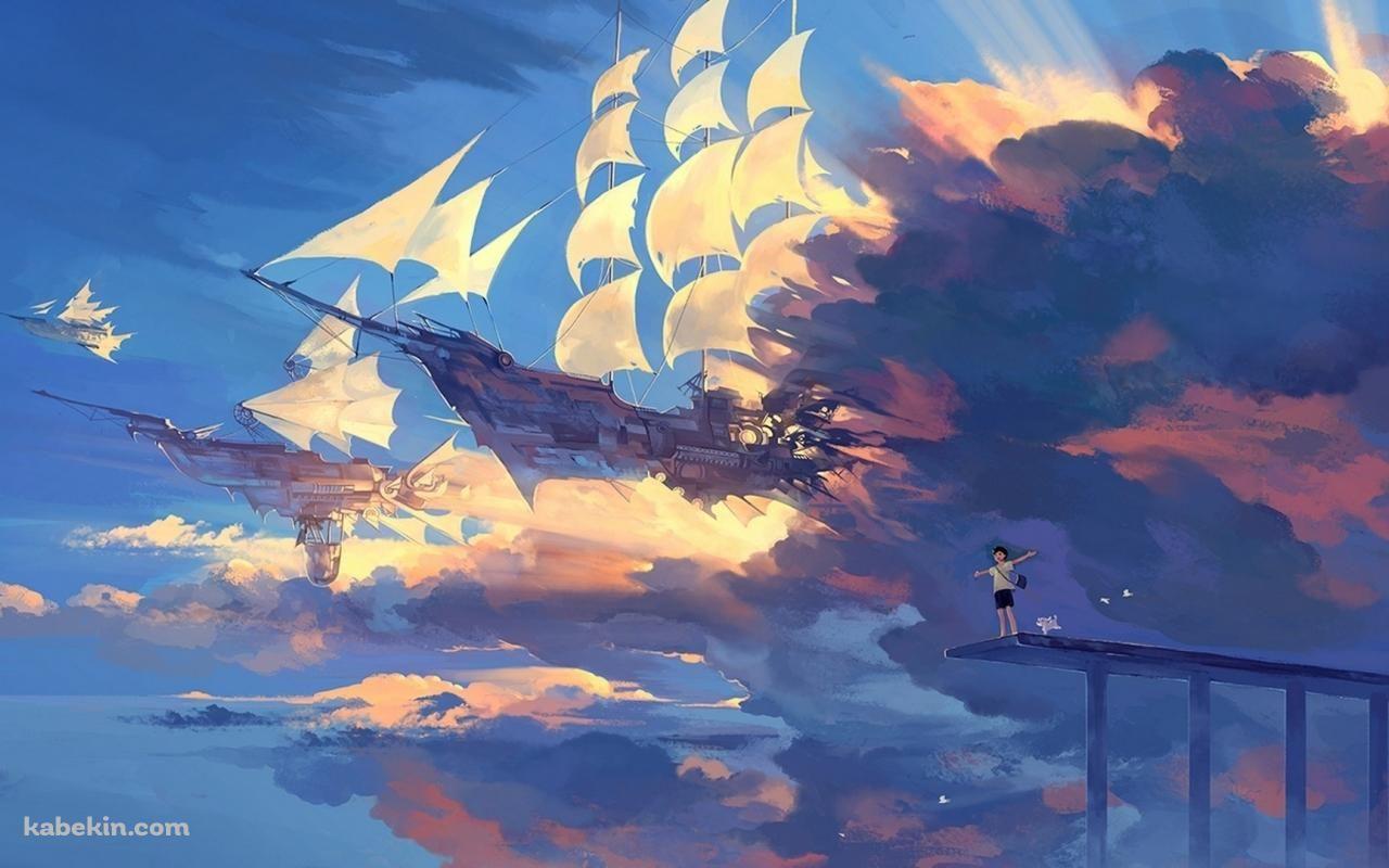 空飛ぶ船と少年 1280 X 800 の壁紙 壁紙キングダム Pc デスクトップ