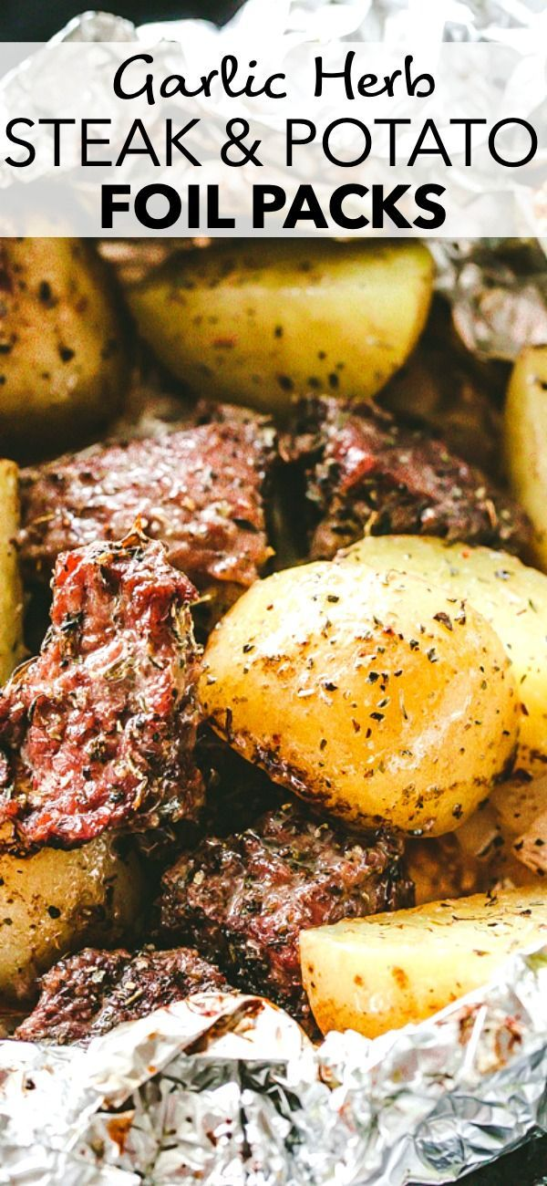Photo of Garlic Herb Steak and Potato Foil Packs
