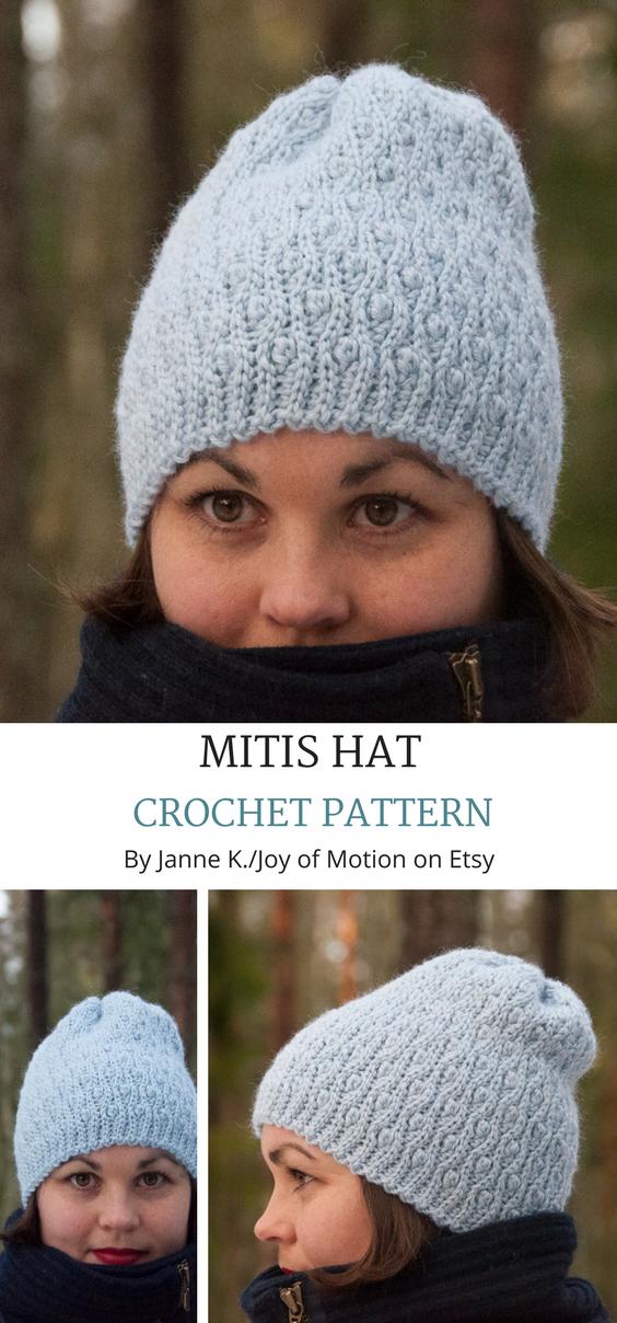 4b15a7b5081 Mitis Hat crochet pattern on Etsy. Crochet hat textured. Crochet hat DIY. Crochet  beanie for women. Crochet beanie ribbed.