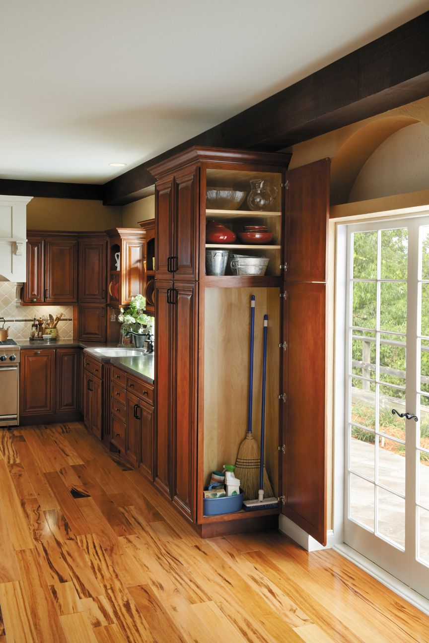 Narrow Kitchen Cabinet Command Center Added To End Of A Bank Of Cabinets Broom Online Kitchen Cabinets Kitchen Pantry Cabinets Kitchen Cabinets Kitchen cabinets broom closet