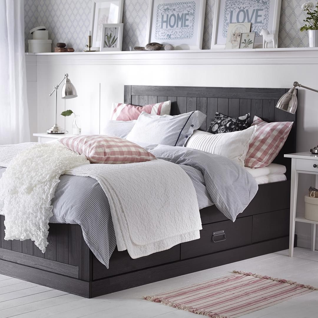 Neutral Bedroom With Dark Bedframe #ikea