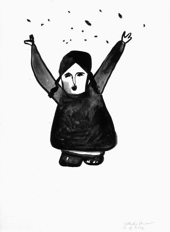 Original Fine Art Gouache Painting in black and white by Biberklau