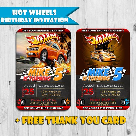 Hot Wheels Birthday Invitation - Free Thank You Card - Printable - printable ticket invitations
