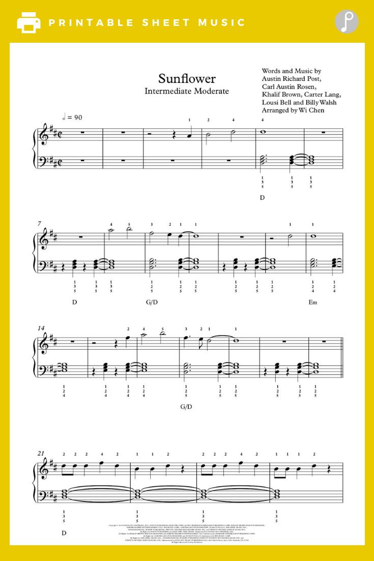 Sunflower By Post Malone Swae Lee Piano Sheet Music