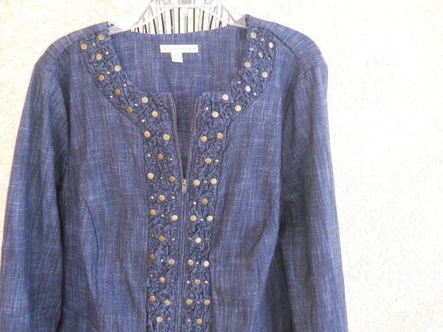 JM Collection 20W Denim Jacket Plus Size Gromets Zip Front Ruched New NWOT #JMCollection #JeanJacket