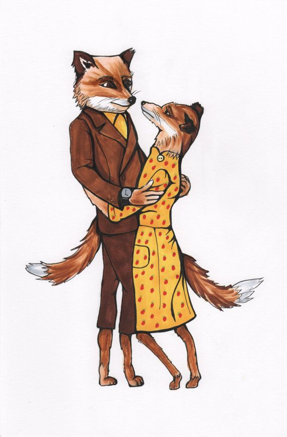Mr And Mrs Fox Fantastic Mr Fox Print Of An Original Drawing Fox Print Drawings Original Drawing