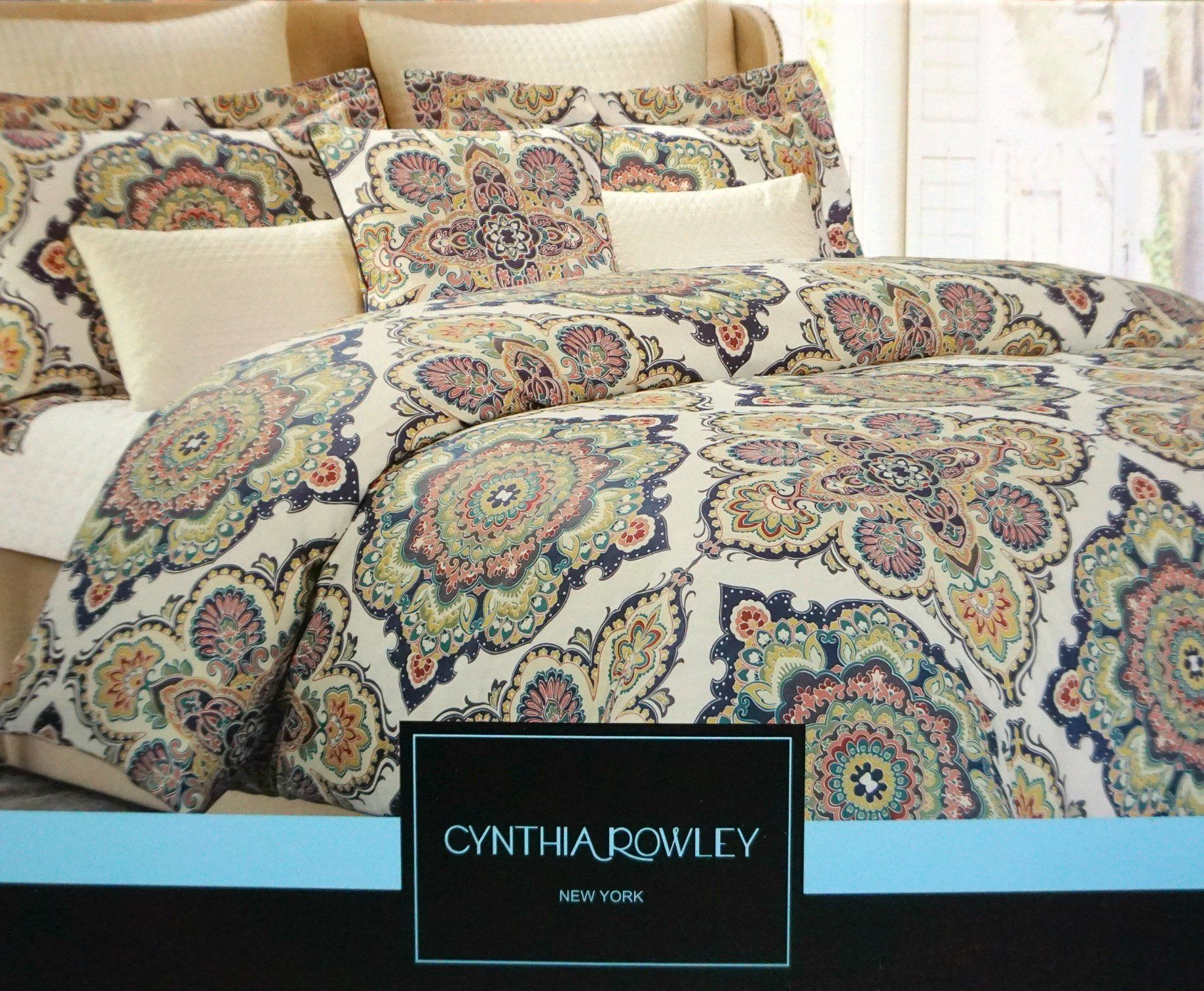 Cynthia Rowley 3pc KING Duvet Cover Set Blue Green Red Orange