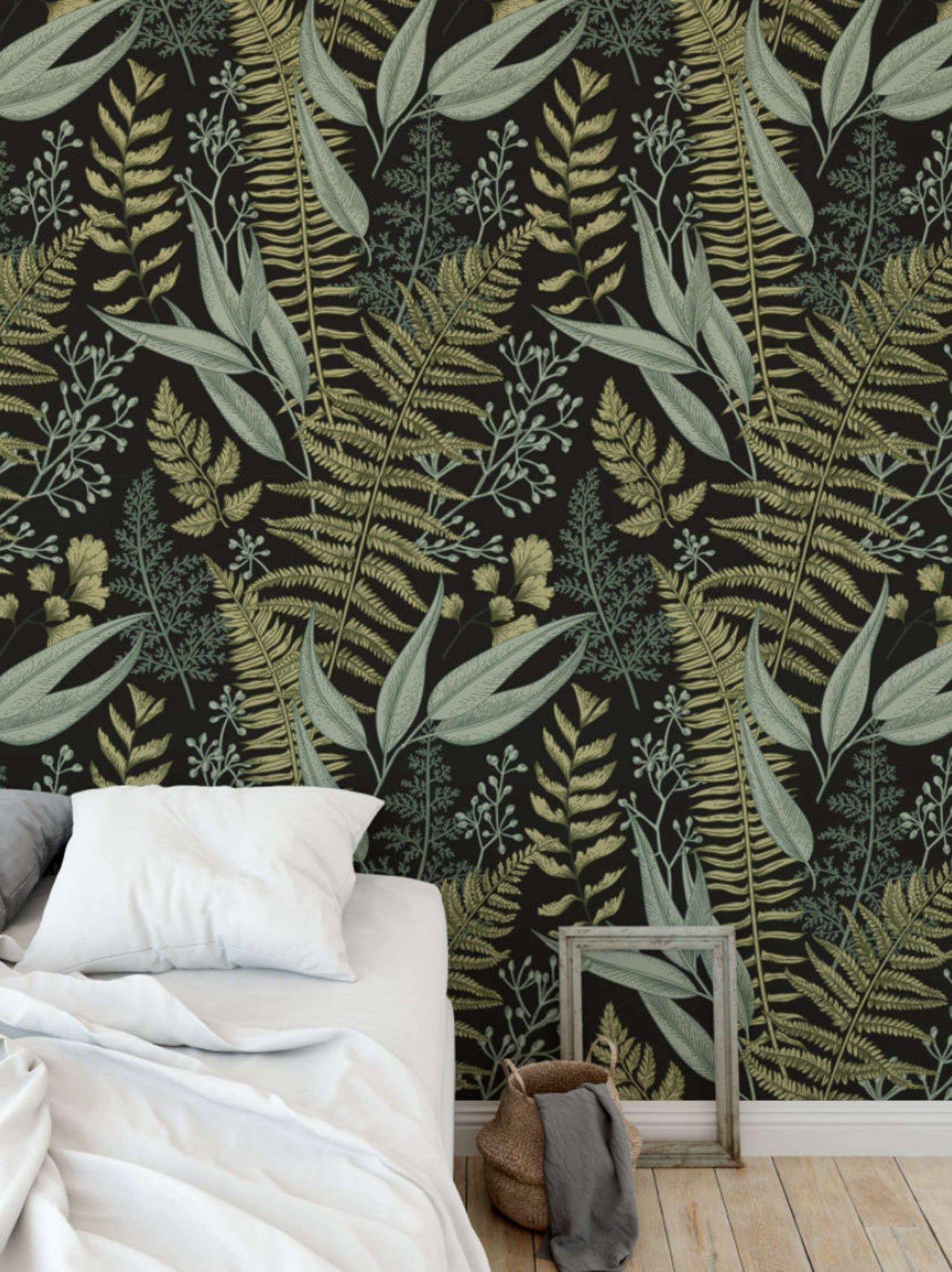 Botanical Greenery Peel And Stick Wallpaper Fern Wallpaper Mural Self Adhesive Wallpaper Removable Wallpaper Easy Diy Wallpaper Fern Wallpaper Removable Wallpaper Green Decor
