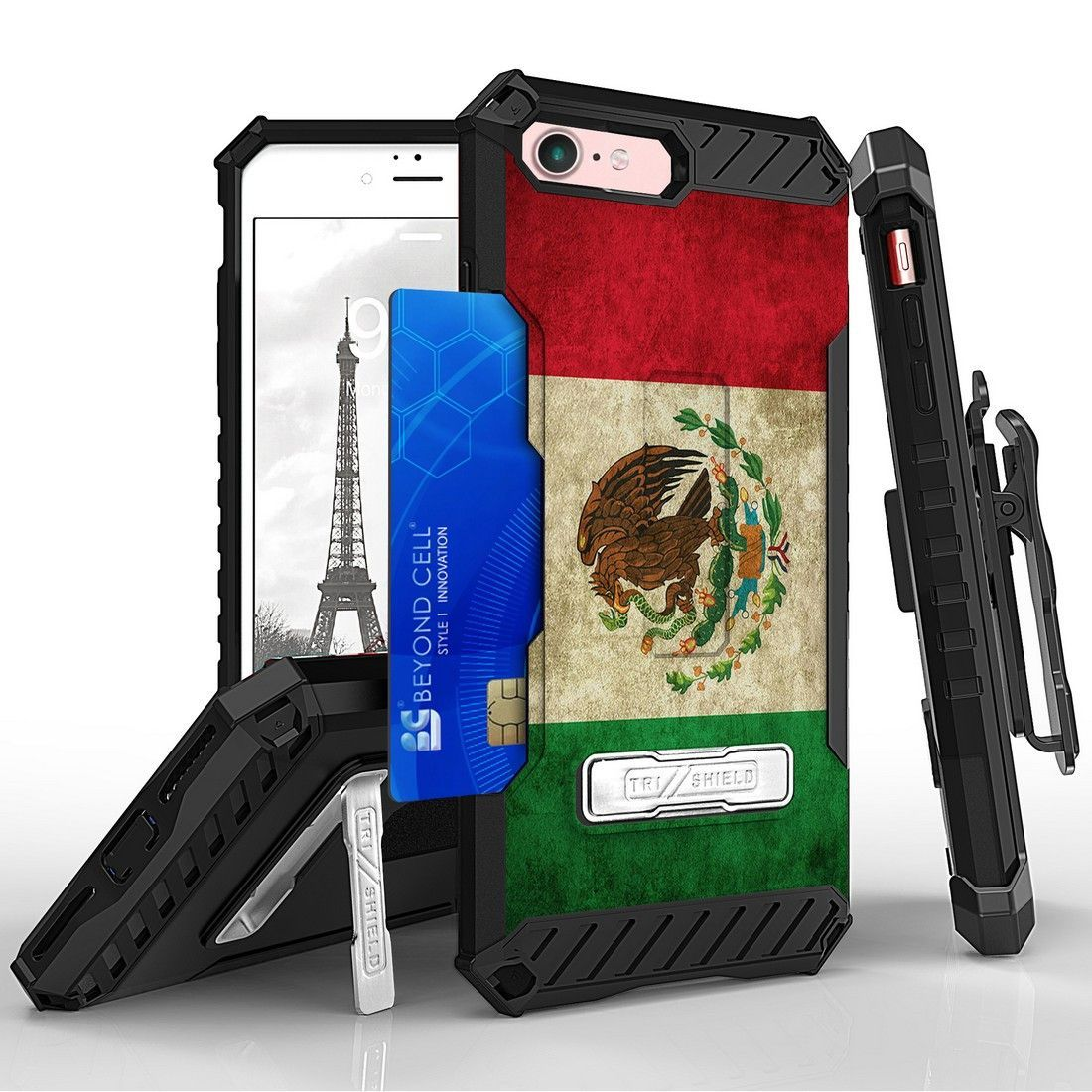 Tri Shield For Apple iPhone 7 Mexican Flag, Belt Clip Holster