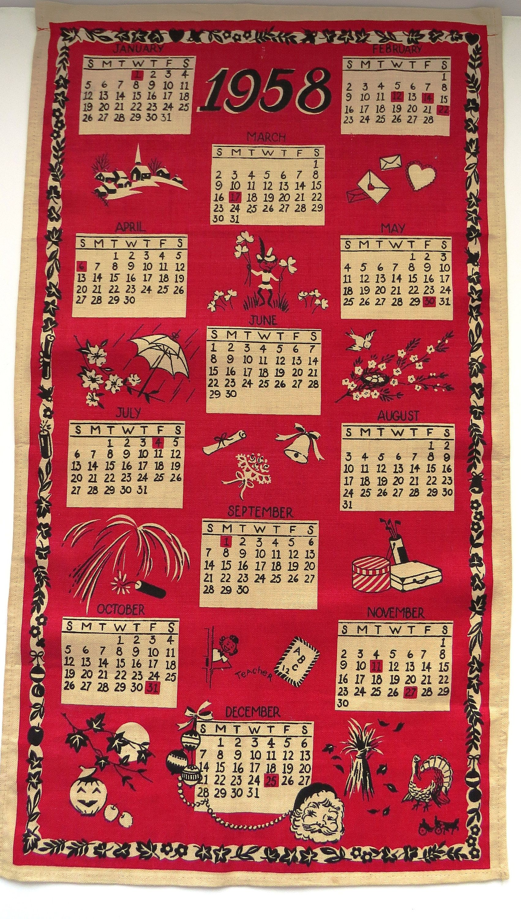 1958 Calendar Kitchen Towel Wall Hanging By Town U0026 Country   Seasonal  Graphics   Red White