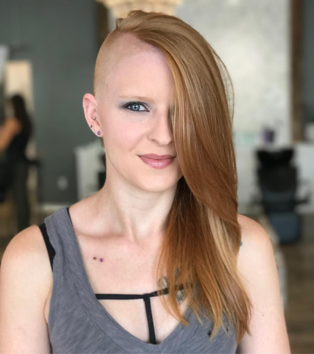 strawberry blond hair, one side shaved | new short hair cut