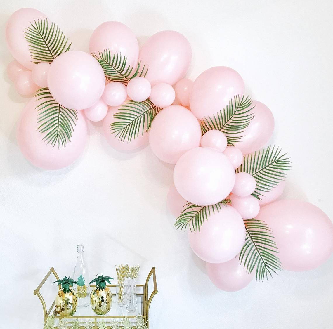 Pink Balloon Garlands Balloon Garlands DIY Balloon Garland Tropical Balloon Garland Tropical Bachelorette Pink Balloon Arch Pink Latex #balloonarch