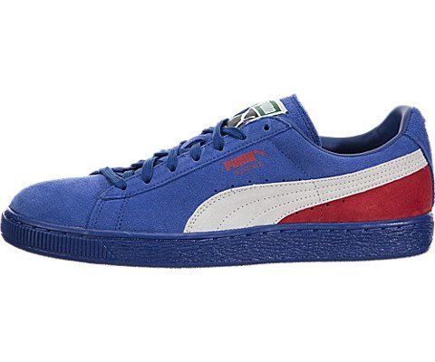 0cbbfccc12d13 Puma Suede Classic Blocked Mens Blue Red Suede Lace Up Sneakers ...