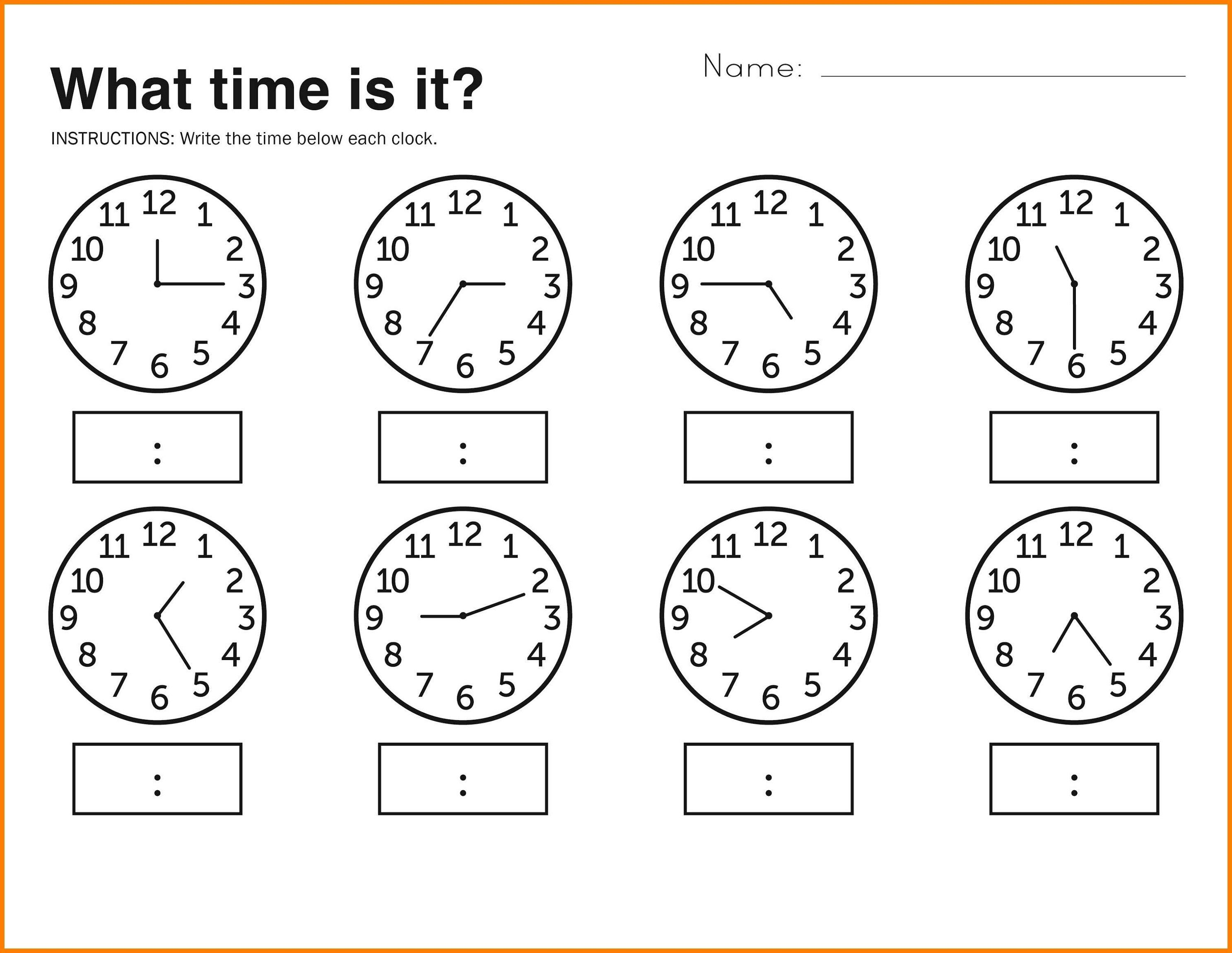 Telling Time Worksheets For Kids Free