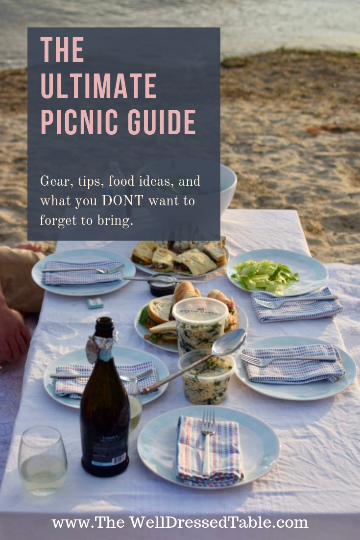 The Ultimate Picnic Guide Filled with Picnic Ideas #familypicnicfoods This ultimate picnic guide has tips from a casual to an elevated picnic. Filled with picnic food ideas, picnic essentials, tips, and what not to forget. Whether you hosting a family picnic or a romantic picnic date this guide is everything you need to know about how to throw a picnic for any occasion like a picnic beach concert to a picnic birthday party. #familypicnicfoods