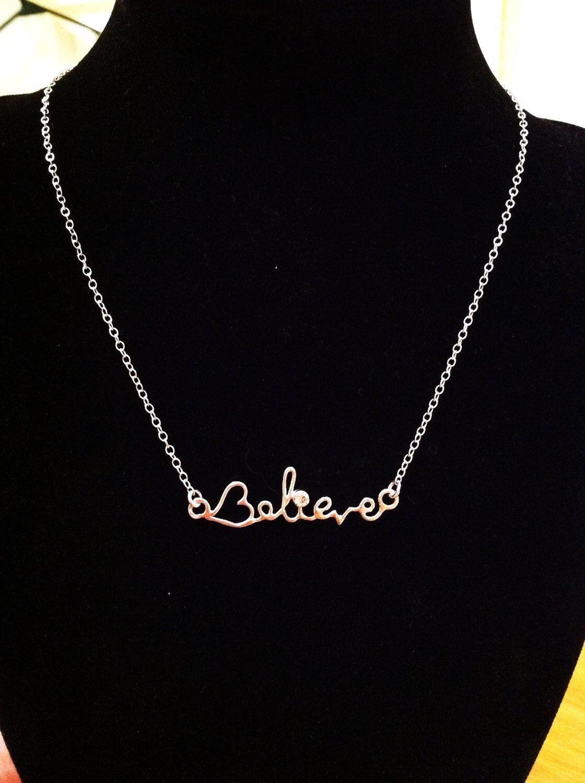 Sterling Silver Believe Necklace -  With CZ - Inspirational - Valentine by CopperfoxGemsJewelry on Etsy https://www.etsy.com/listing/113696313/sterling-silver-believe-necklace-with-cz