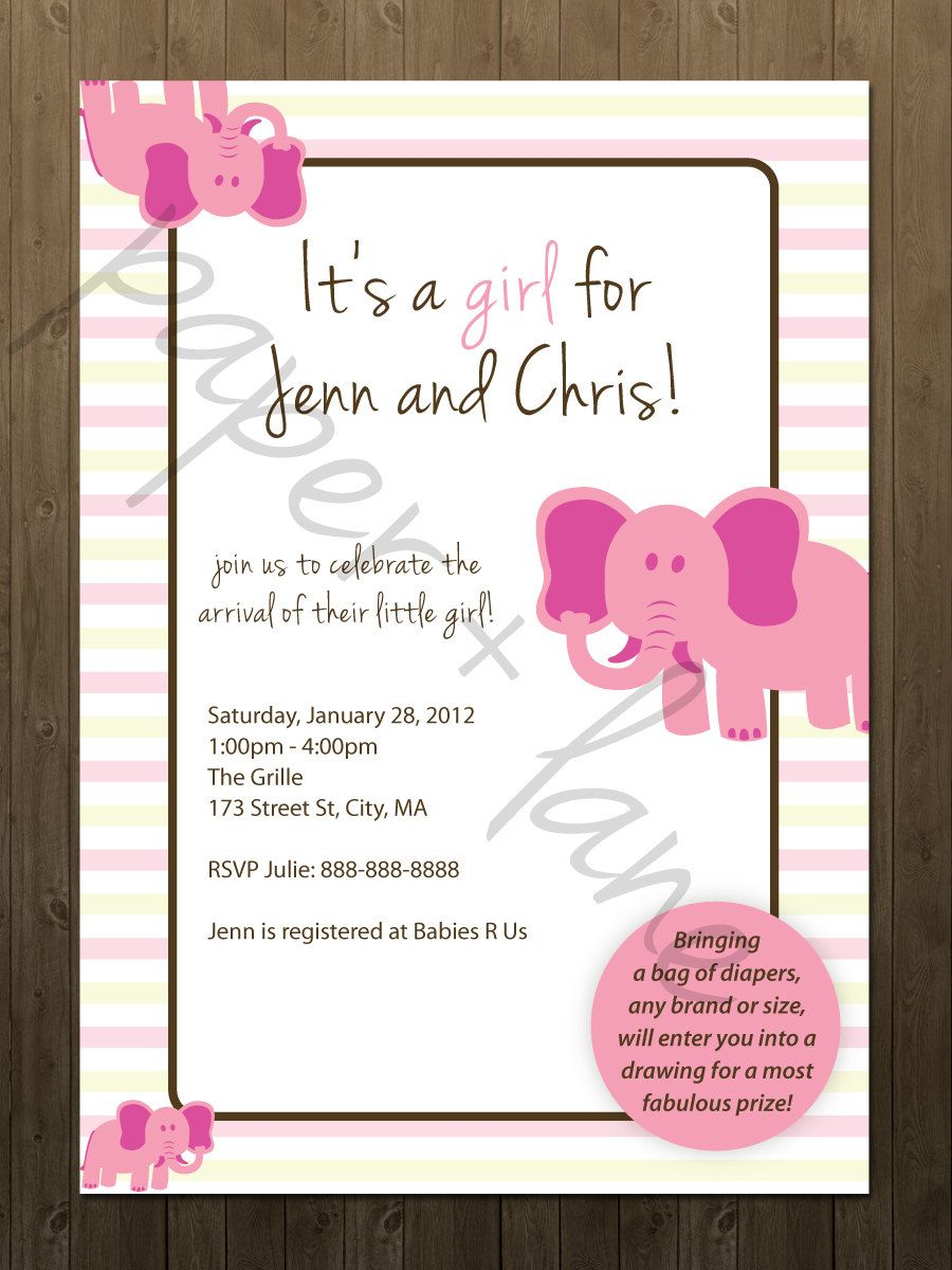 Baby shower invitations for girls - It S A Girl Baby Shower Invitation Printable Elephants Pink Polka Dots