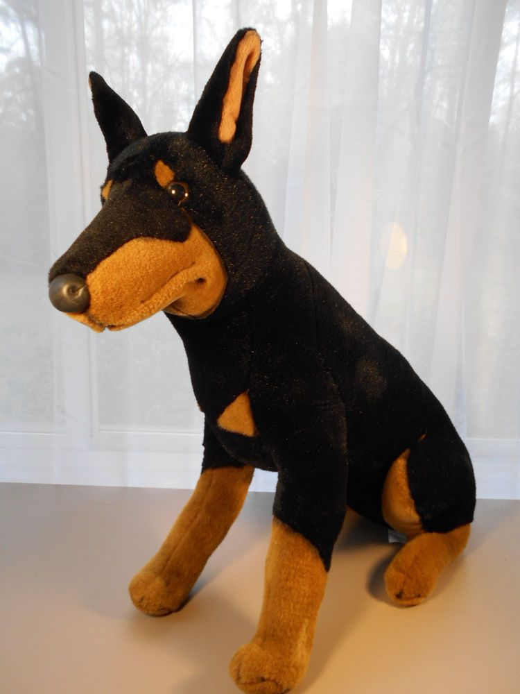 Doberman Pinscher Stuffed Animal Dog Stiff Plush 23 H Large Jumbo Pre Owned Tall Very Clean Well Made