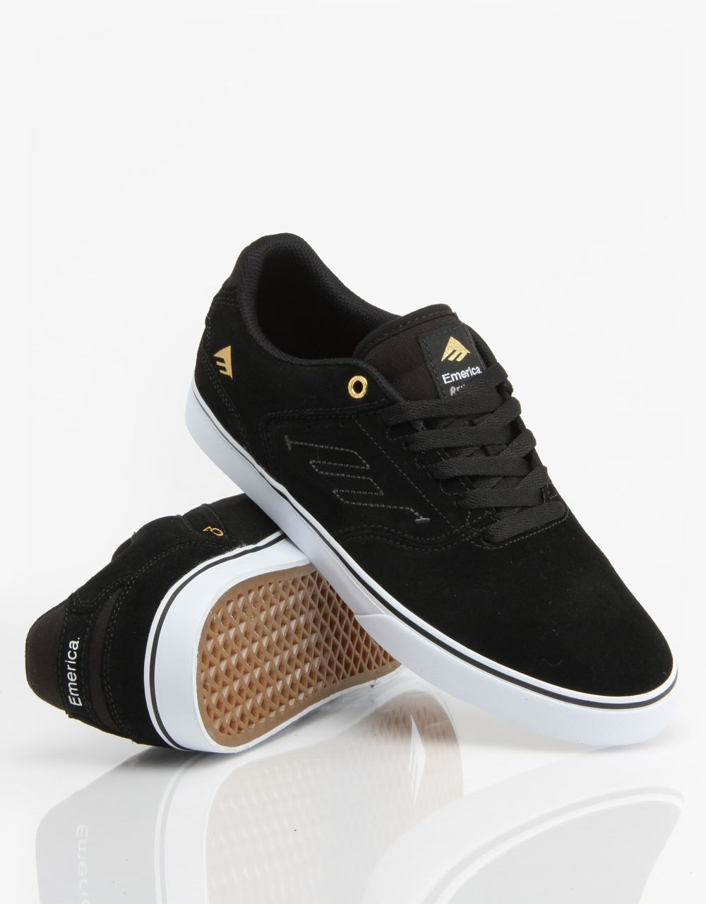 Emerica The Reynolds Low Vulc Skate Shoes - Black White - RouteOne.co.uk dfe96857a2b