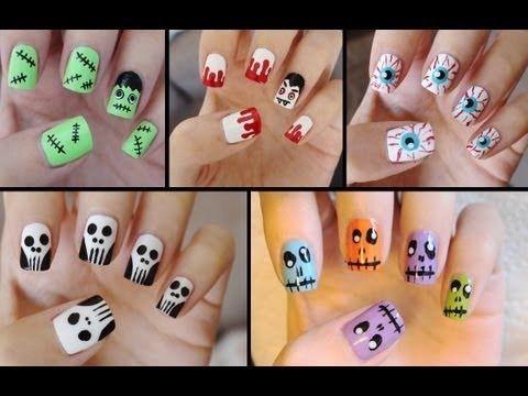 five cute  easy halloween nail tut  halloween nail