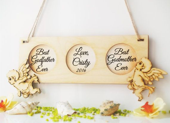 Personalized Godparents wooden plaque with angels-Best Godmother ever, best Godfather ever-Godparent gift-Godparents gift-Christening gift