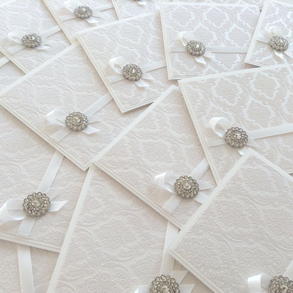 Luxury white flocked wedding invitation with brooch luxury luxury white flocked wedding invitation with brooch monicamarmolfo Gallery