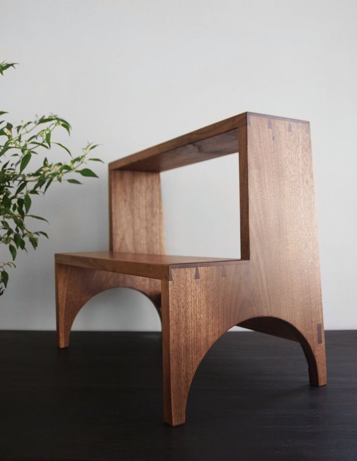 Brian Persico handmade step stool - raditional shaker steps, featuring hand cut dovetail joinery. Black Walnut, natural oil finish Size 18