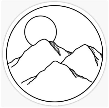 Mountain Sticker By Jessicalizabeth In 2021 Black And White Stickers Black And White Doodle Simple Black Tattoos