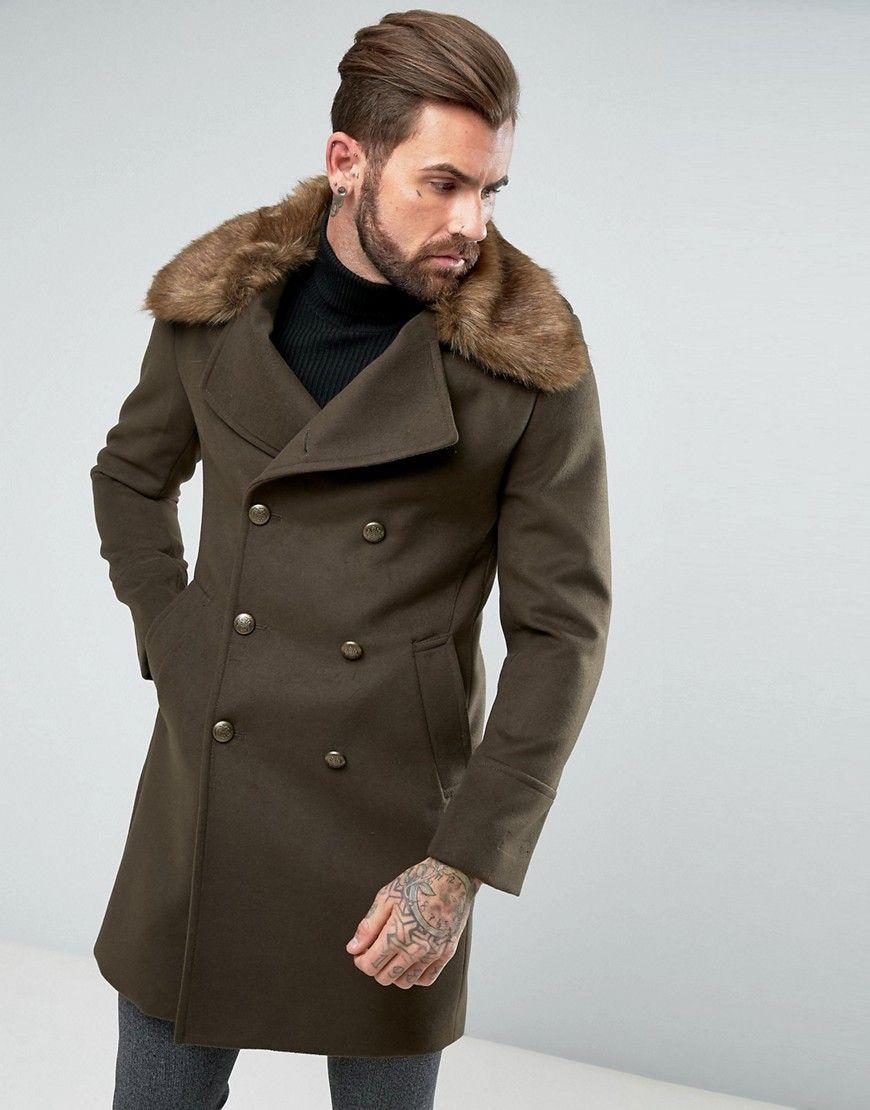 f4a26ab7fd1 Gianni Feraud Premium Removable Faux Fur Collar Cashmere Blend Militar