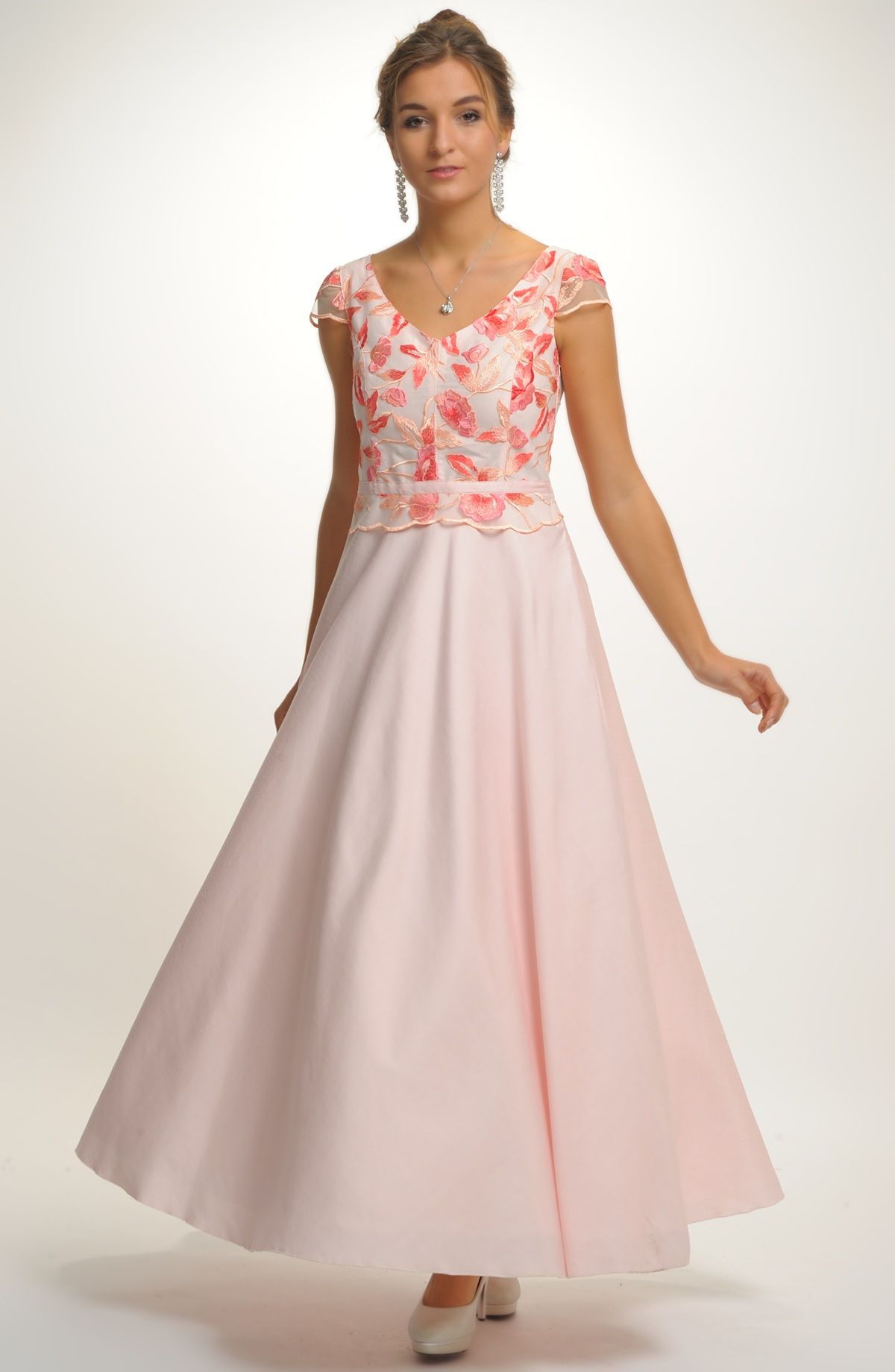 c58c97dd5266 Pohádkové růžové dlouhé šaty Luna