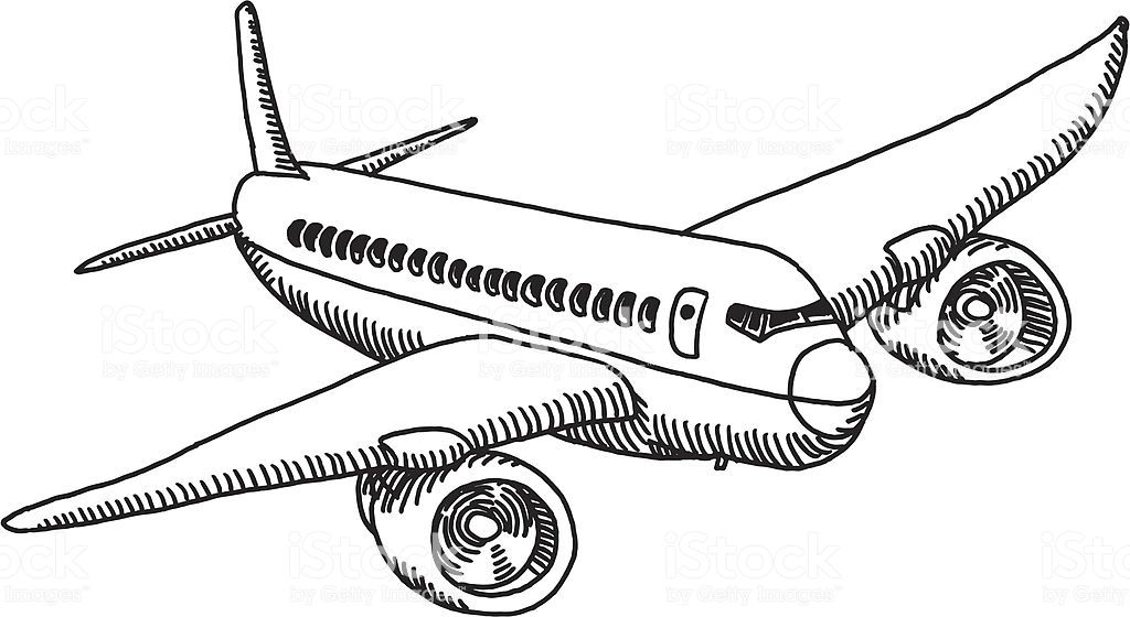 Hand Drawn Vector Drawing Of A Generic Flying Airplane Airplane Drawing How To Draw Hands Drawings