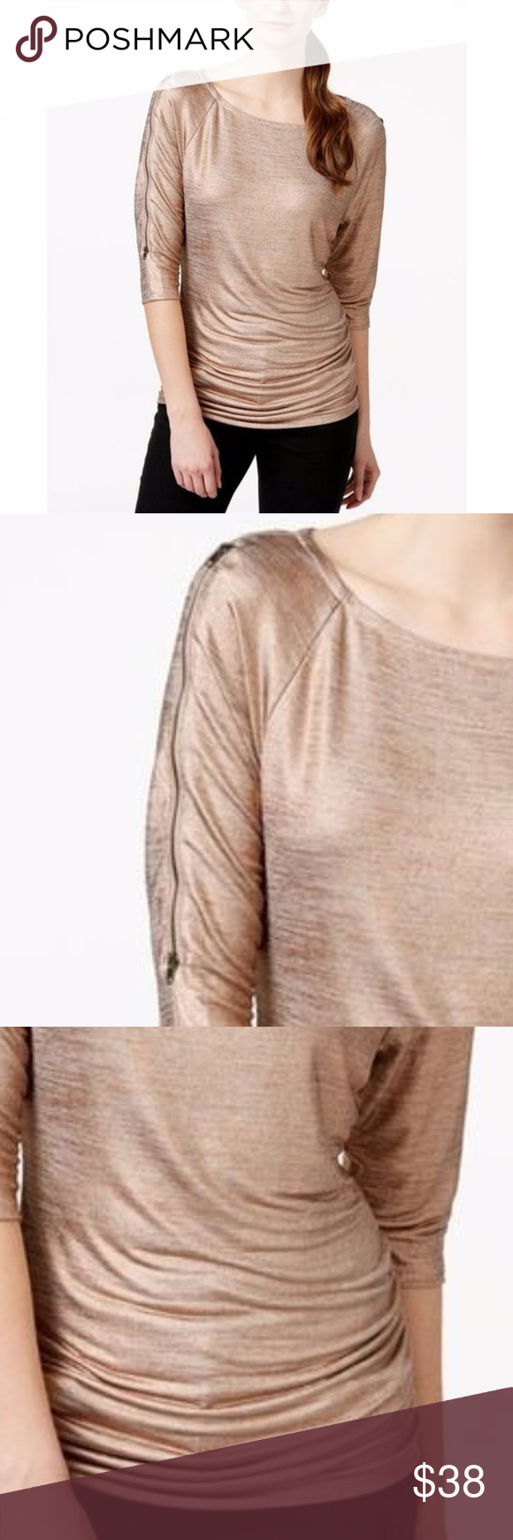 479f9fb15a7388 INC ROSE GOLD SHIMMER TOP SEXY FLATTERING NWOT GREAT TOP THAT I PURCHASED  AND NEVER GOT