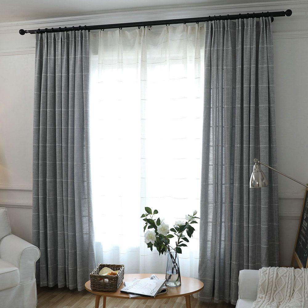 Cotton An Linen Blackout Curtain Large Lattice Jacquard Room Darkening Curtain For Living Room Grey Curtains Living Room Curtains Living Room