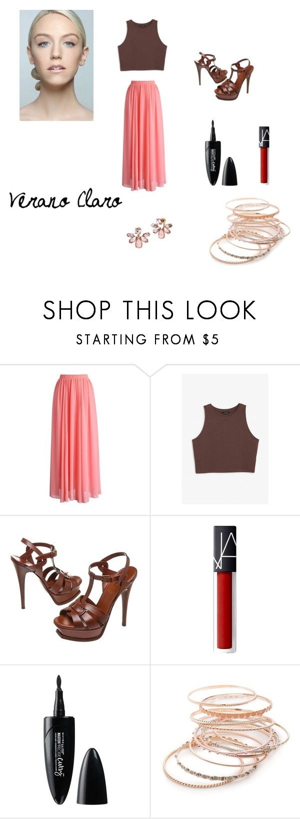 """""""Verano Claro"""" by joycelp on Polyvore featuring Chicwish, Monki, Yves Saint Laurent, Maybelline, Red Camel and Marchesa"""