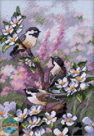 Gold Collection Petites - Chickadees in Spring - Cross Stitch World