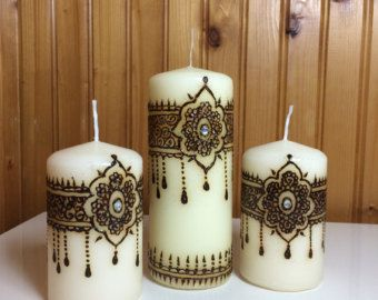 Mehndi For Candles : Handmade henna candles hennas organza gift bags and crafts
