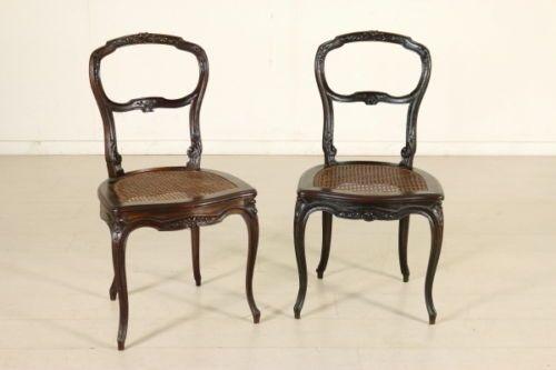 Sedie Antiquariato ~ Coppia di sedie incannucciate intagliate noce antiquariato italia